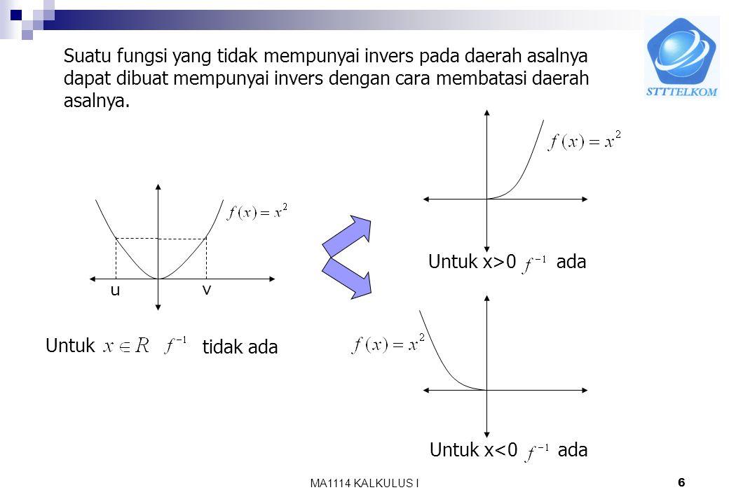 MA1114 KALKULUS I5 Contoh : Diketahui a.Periksa apakah f mempunyai invers b. Jika ada, tentukan inversnya Jawab: a. Karena f selalu naik(monoton murni