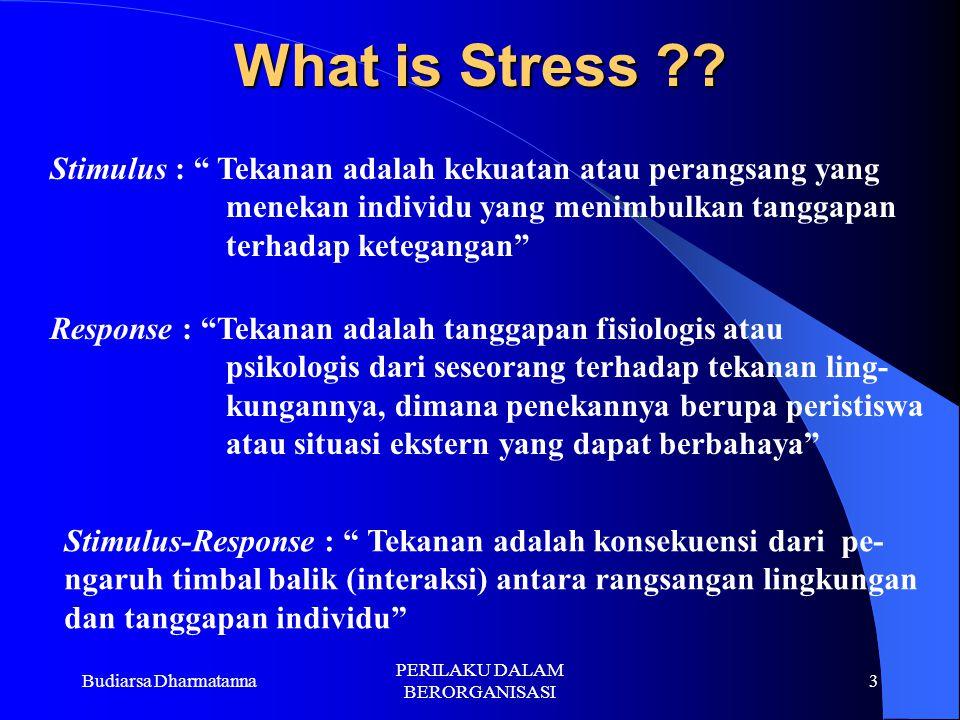 Budiarsa Dharmatanna PERILAKU DALAM BERORGANISASI 2 Stres adalah suatu kondisi dinamik yang didalamnya seorang individu dikonfrontasikan dengan suatu