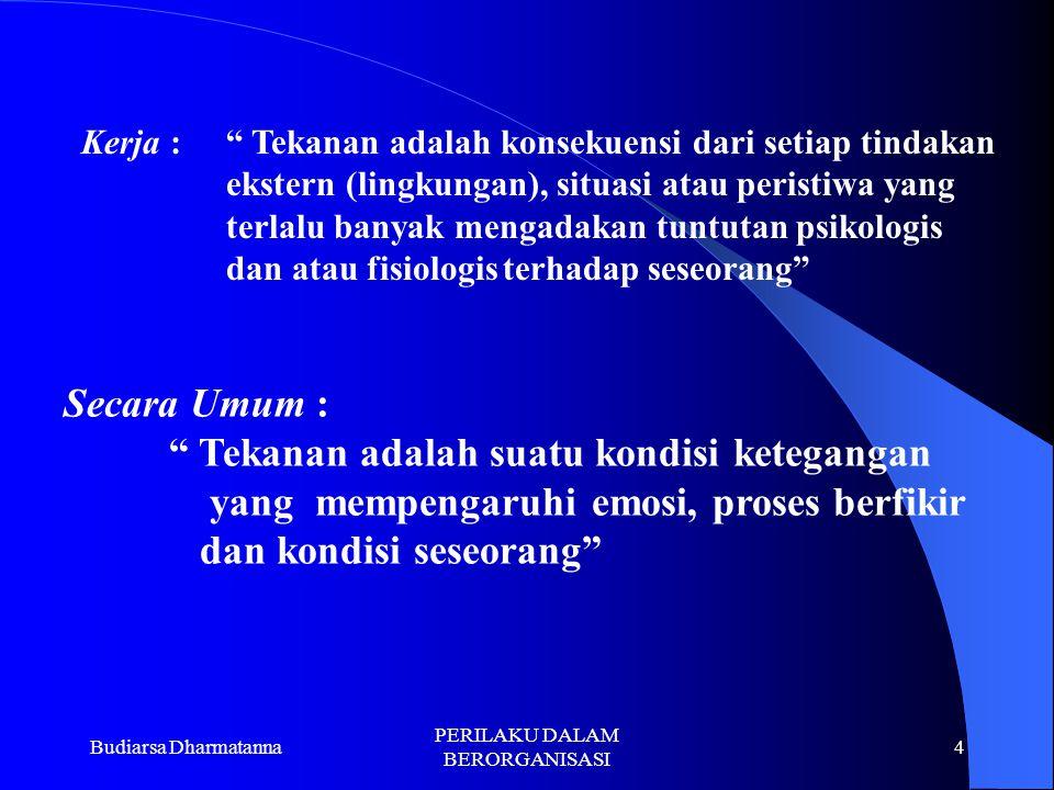 "Budiarsa Dharmatanna PERILAKU DALAM BERORGANISASI 3 Stimulus : "" Tekanan adalah kekuatan atau perangsang yang menekan individu yang menimbulkan tangga"