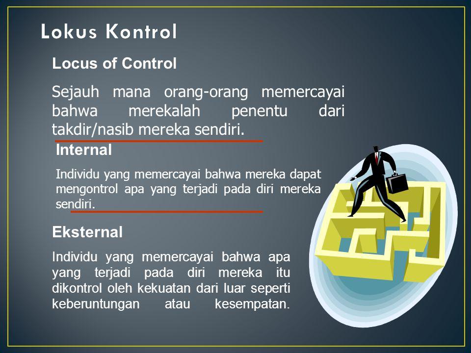 Locus of Control Sejauh mana orang-orang memercayai bahwa merekalah penentu dari takdir/nasib mereka sendiri. Internal Individu yang memercayai bahwa