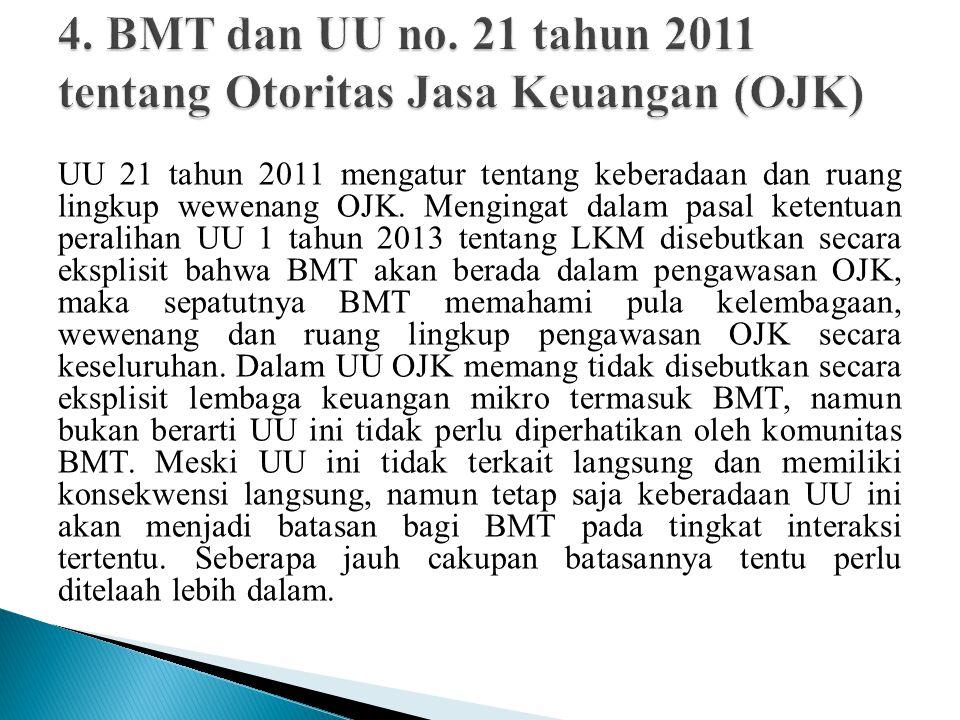 UU 21 tahun 2011 mengatur tentang keberadaan dan ruang lingkup wewenang OJK.