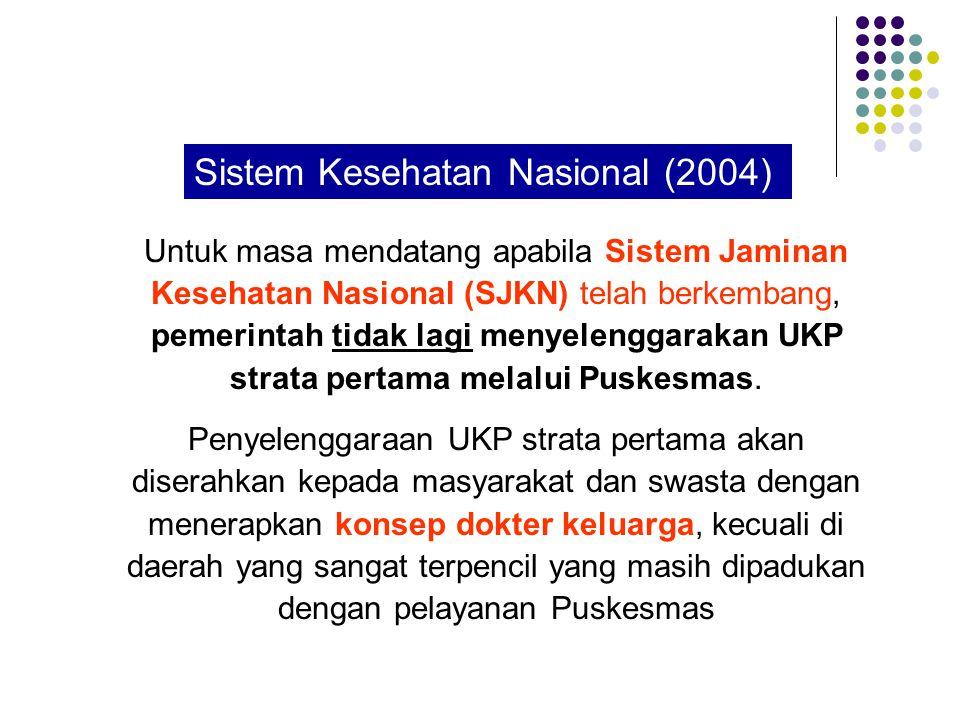 Untuk masa mendatang apabila Sistem Jaminan Kesehatan Nasional (SJKN) telah berkembang, pemerintah tidak lagi menyelenggarakan UKP strata pertama melalui Puskesmas.