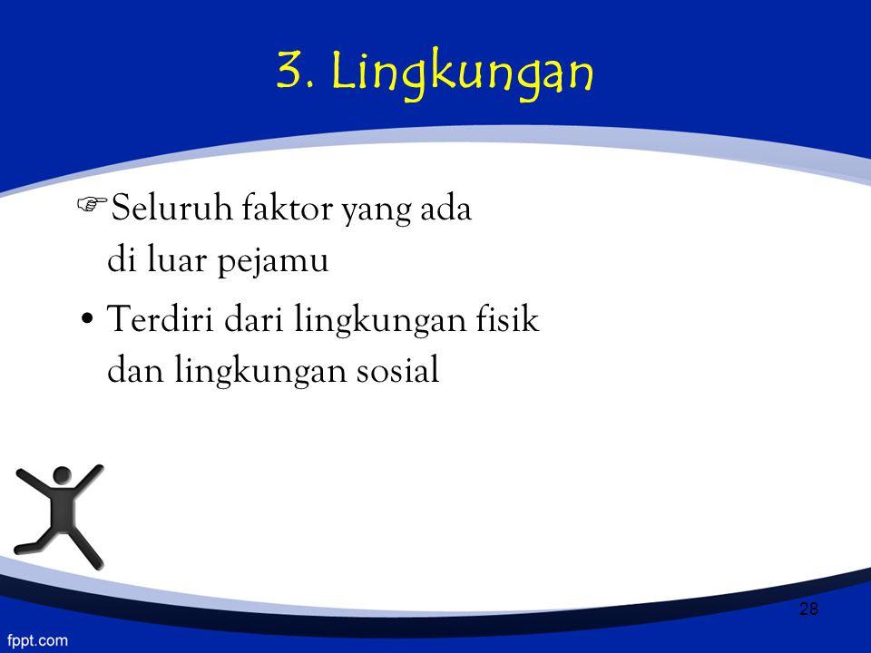 28 3. Lingkungan  Seluruh faktor yang ada di luar pejamu Terdiri dari lingkungan fisik dan lingkungan sosial