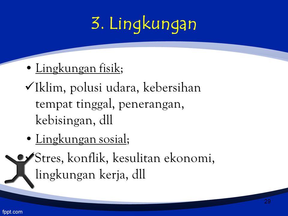 29 3. Lingkungan Lingkungan fisik; I klim, polusi udara, kebersihan tempat tinggal, penerangan, kebisingan, dll Lingkungan sosial; Stres, konflik, kes
