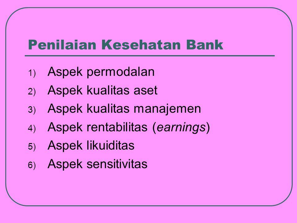 Penilaian Kesehatan Bank 1) Aspek permodalan 2) Aspek kualitas aset 3) Aspek kualitas manajemen 4) Aspek rentabilitas (earnings) 5) Aspek likuiditas 6) Aspek sensitivitas