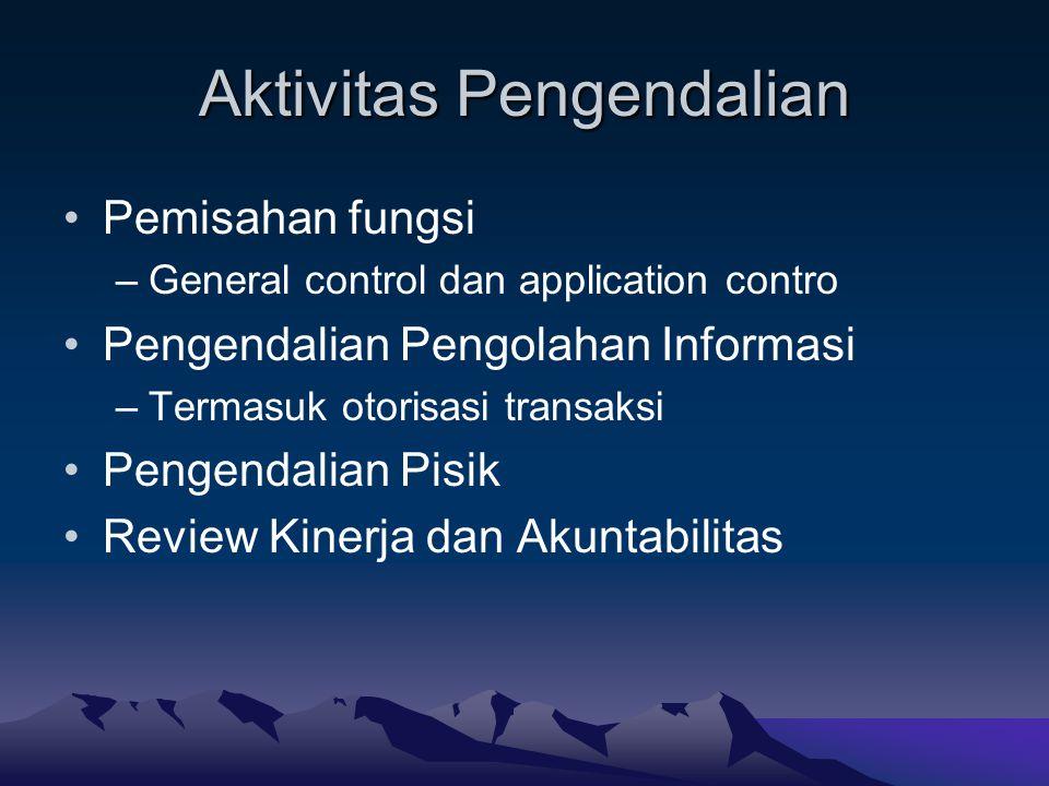 Aktivitas Pengendalian Pemisahan fungsi –General control dan application contro Pengendalian Pengolahan Informasi –Termasuk otorisasi transaksi Pengen