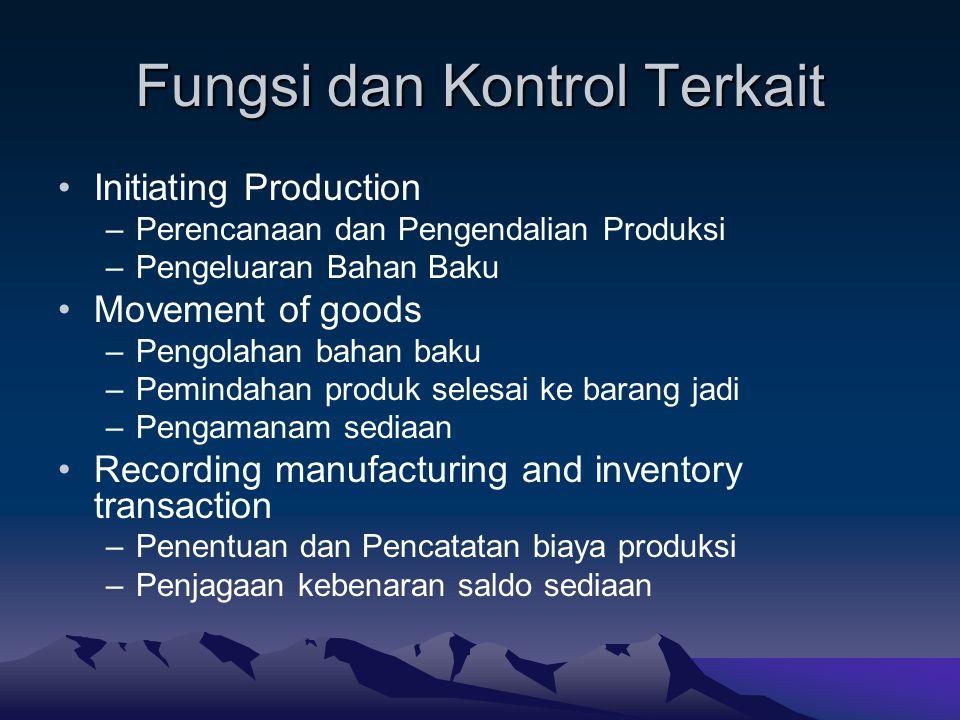 Fungsi dan Kontrol Terkait Initiating Production –Perencanaan dan Pengendalian Produksi –Pengeluaran Bahan Baku Movement of goods –Pengolahan bahan ba