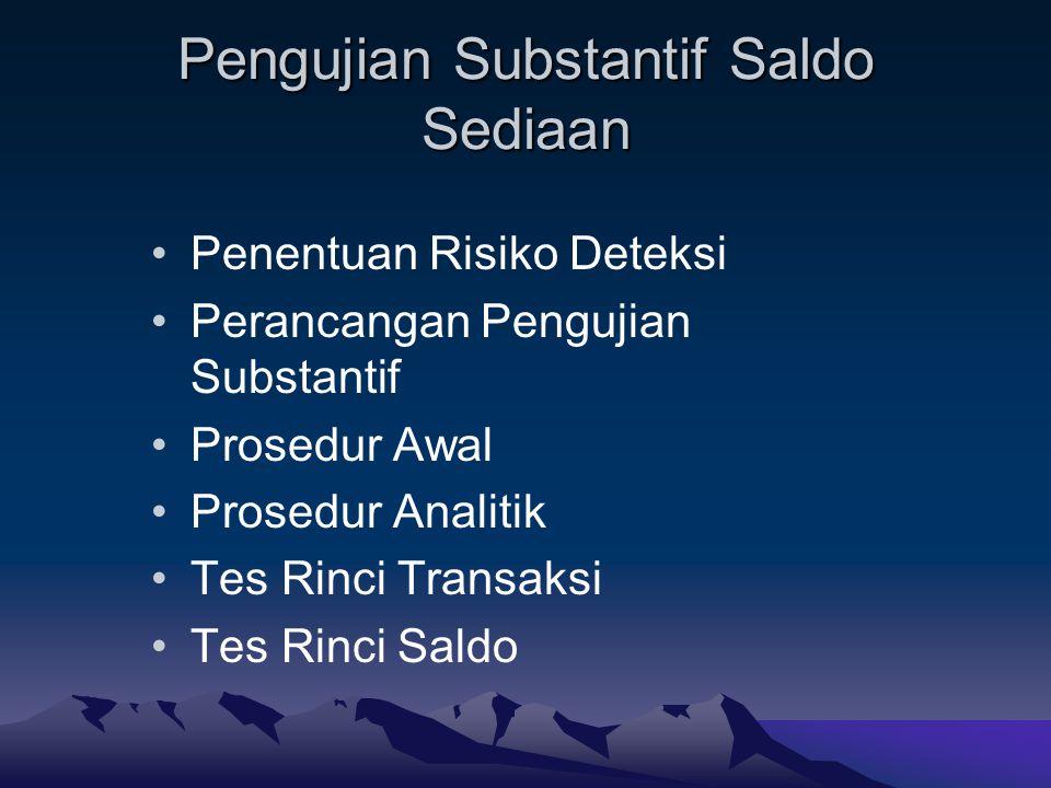 Pengujian Substantif Saldo Sediaan Penentuan Risiko Deteksi Perancangan Pengujian Substantif Prosedur Awal Prosedur Analitik Tes Rinci Transaksi Tes R