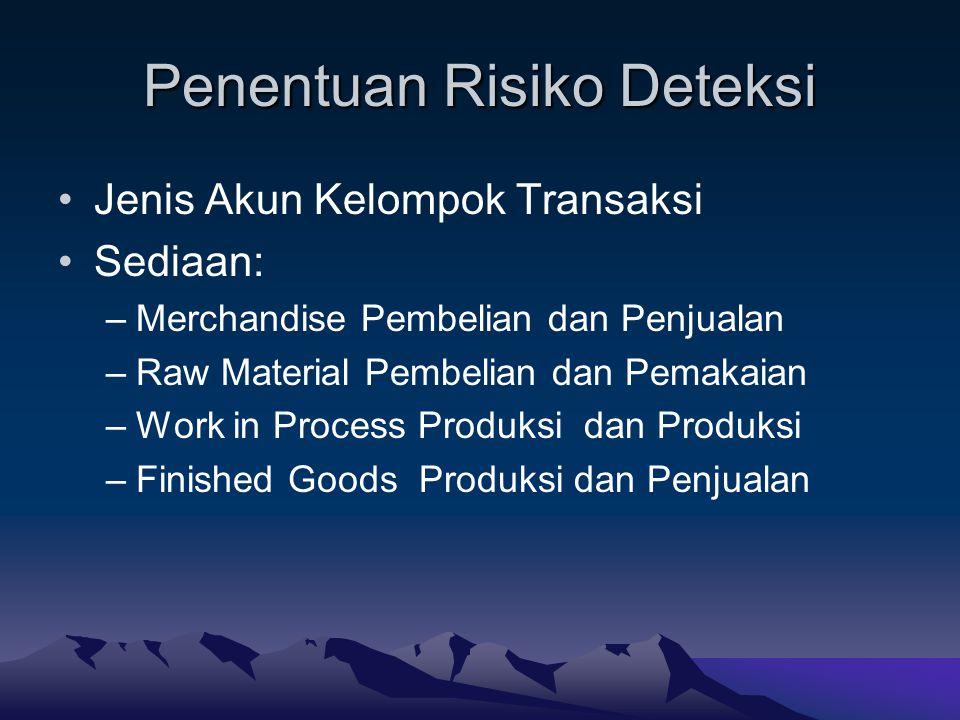 Penentuan Risiko Deteksi Jenis Akun Kelompok Transaksi Sediaan: –Merchandise Pembelian dan Penjualan –Raw Material Pembelian dan Pemakaian –Work in Pr
