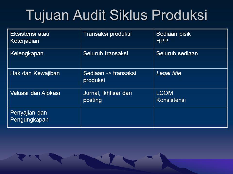 Tujuan Audit Siklus Produksi Eksistensi atau Keterjadian Transaksi produksiSediaan pisik HPP KelengkapanSeluruh transaksiSeluruh sediaan Hak dan Kewaj