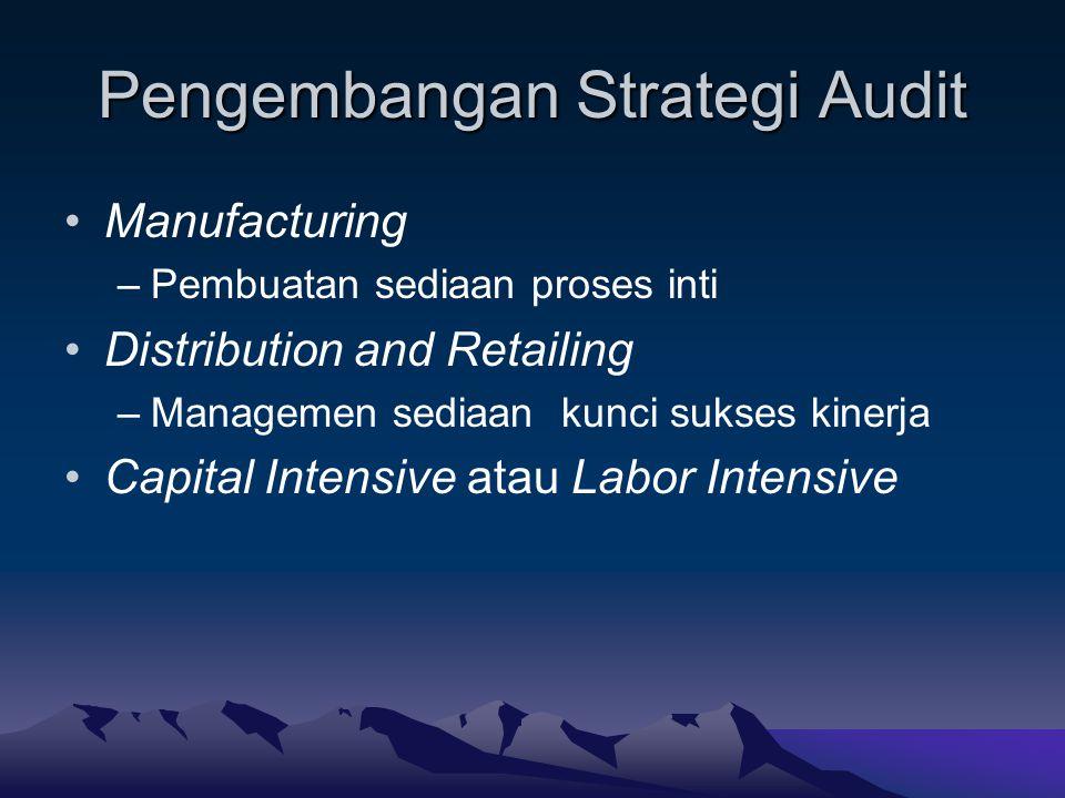 Pengembangan Strategi Audit Manufacturing –Pembuatan sediaan proses inti Distribution and Retailing –Managemen sediaan kunci sukses kinerja Capital In