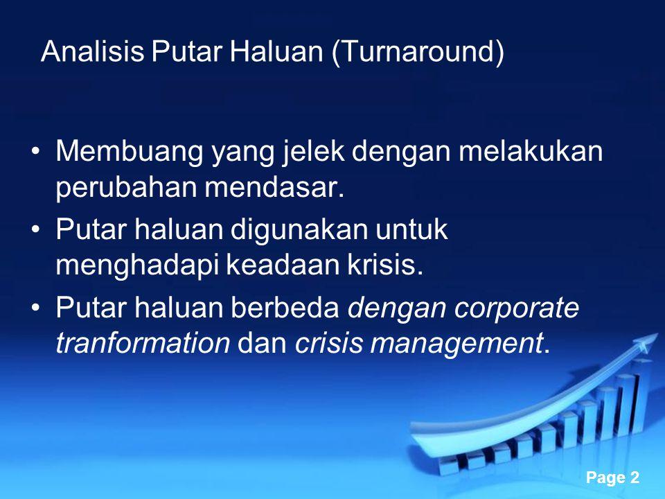 Powerpoint Templates Page 3 Contoh: Garuda Indonesia 1997 GI dikelola dengan crisis management, dilakukan oleh Robby Djohan sebagai direktur utama dan bekerja sama dengan Abdul Gani melakukan turnd around.