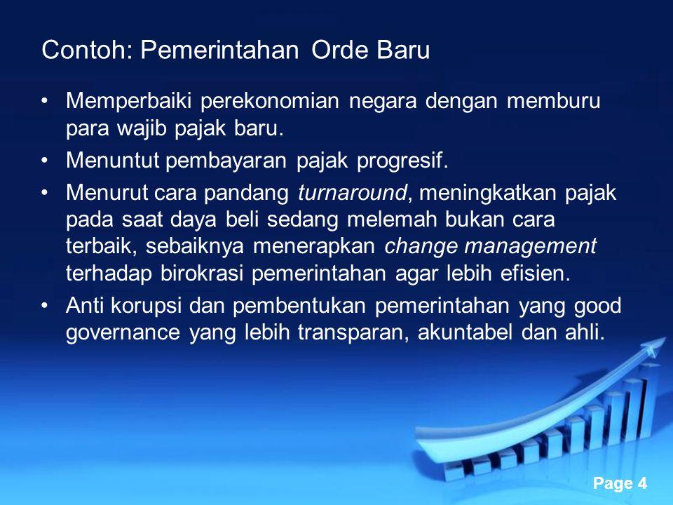 Powerpoint Templates Page 4 Contoh: Pemerintahan Orde Baru Memperbaiki perekonomian negara dengan memburu para wajib pajak baru. Menuntut pembayaran p