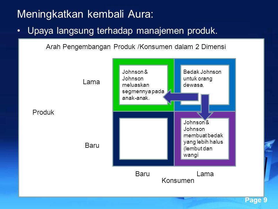 Powerpoint Templates Page 9 Meningkatkan kembali Aura: Upaya langsung terhadap manajemen produk. Johnson & Johnson meluaskan segmennya pada anak-anak.