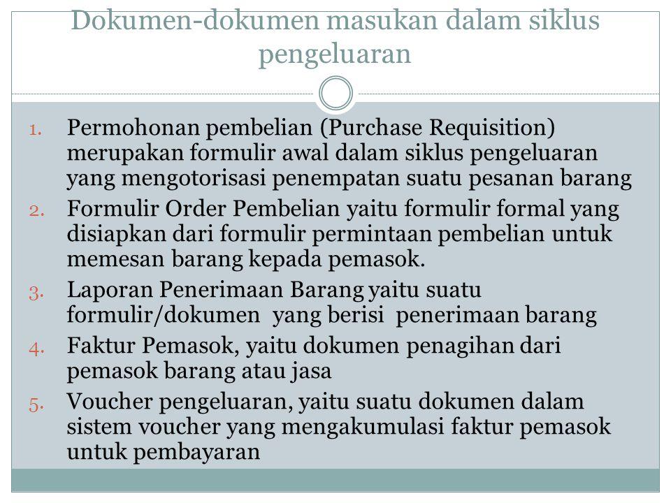 Dokumen-dokumen masukan dalam siklus pengeluaran 1. Permohonan pembelian (Purchase Requisition) merupakan formulir awal dalam siklus pengeluaran yang
