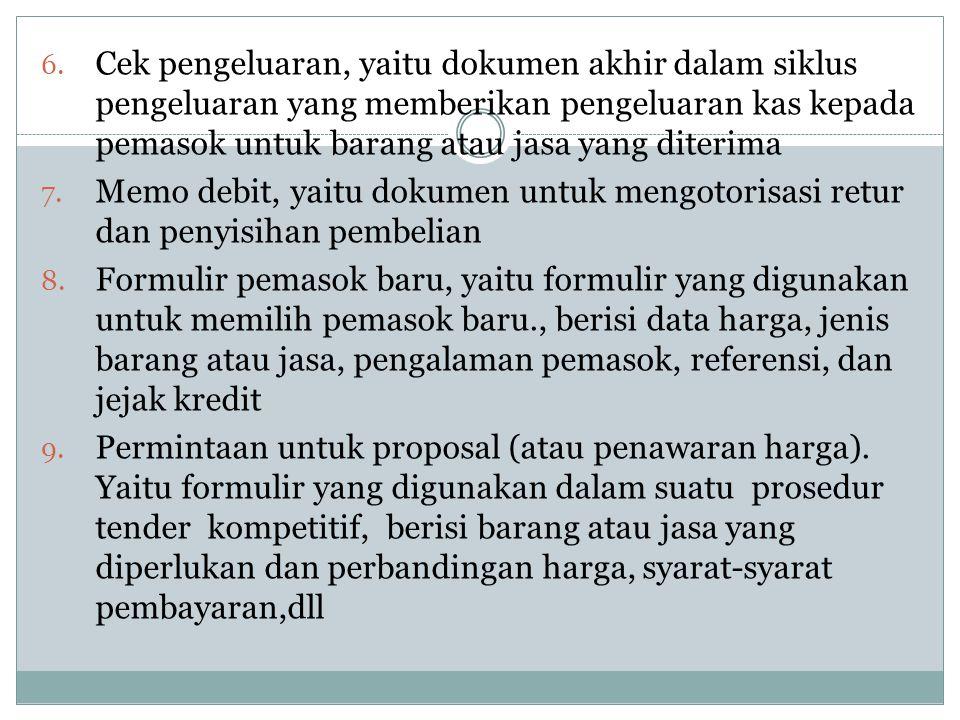6. Cek pengeluaran, yaitu dokumen akhir dalam siklus pengeluaran yang memberikan pengeluaran kas kepada pemasok untuk barang atau jasa yang diterima 7