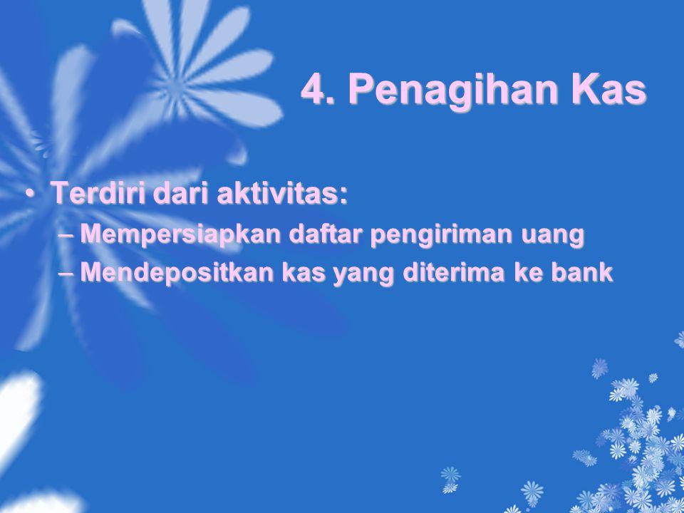 4. Penagihan Kas Terdiri dari aktivitas:Terdiri dari aktivitas: –Mempersiapkan daftar pengiriman uang –Mendepositkan kas yang diterima ke bank