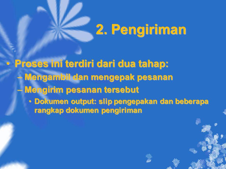 2. Pengiriman Proses ini terdiri dari dua tahap:Proses ini terdiri dari dua tahap: –Mengambil dan mengepak pesanan –Mengirim pesanan tersebut Dokumen