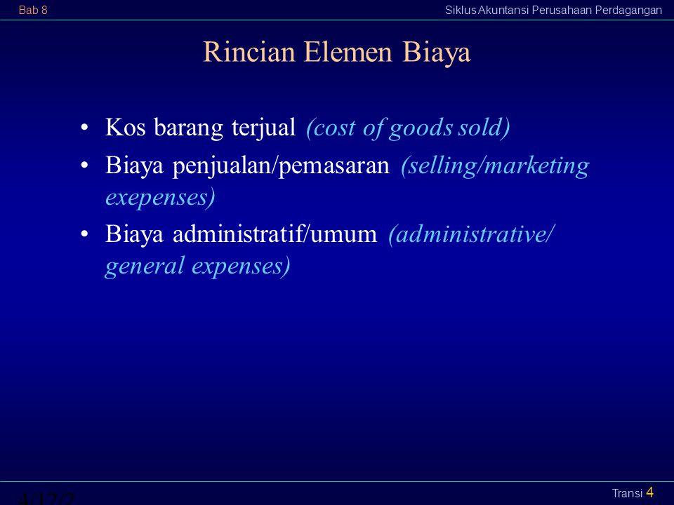 Bab 8Siklus Akuntansi Perusahaan Perdagangan4/12/2015 Transi 4 Rincian Elemen Biaya Kos barang terjual (cost of goods sold) Biaya penjualan/pemasaran
