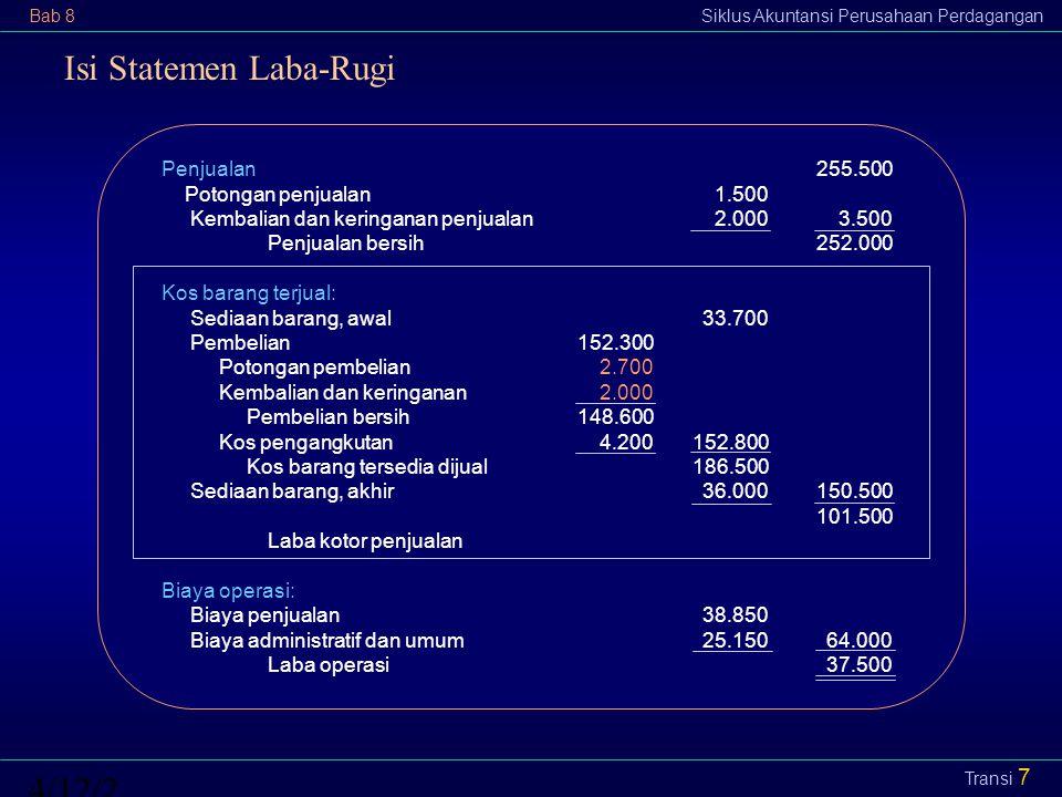 Bab 8Siklus Akuntansi Perusahaan Perdagangan4/12/2015 Transi 8 Transaksi Penjualan Pembelian pertama:300 unit dengan kos Rp2.800 per unit Pembelian kedua:100 unit dengan kos Rp2.900 per unit Penjualan:200 unit dengan harga jual Rp5.000 per unit Modal bertambah Rp1.000.000 akibat pendapatan (penjualan) Piutang usaha/kas Rp1.000.000 Modal berkurang Rp560.000 akibat biaya berupa kos barang terjual Sediaan barang Rp560.000 Perusahaan Transaksi terjadinya pendapatan Transaksi terjadinya biaya Asumsi aliran kos: MPKP/FIFO