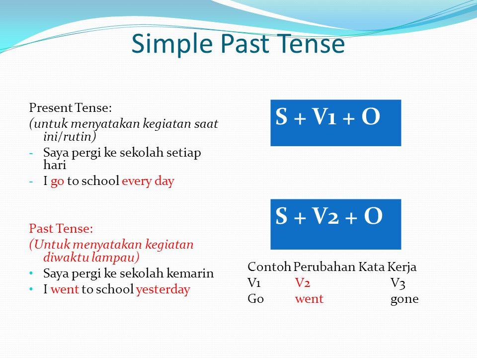 V1V2V3 gowentgone Simple Past Tense Present Tense: (untuk menyatakan kegiatan saat ini/rutin) - Saya pergi ke sekolah setiap hari - I go to school eve