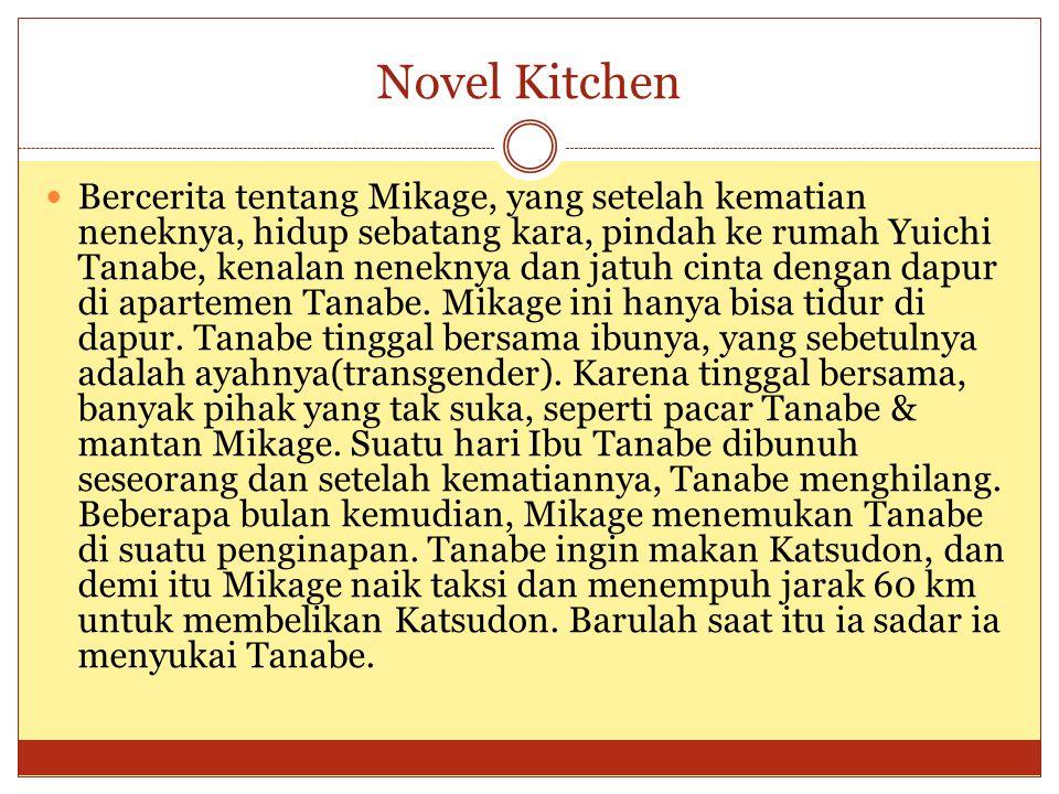 Novel Kitchen Bercerita tentang Mikage, yang setelah kematian neneknya, hidup sebatang kara, pindah ke rumah Yuichi Tanabe, kenalan neneknya dan jatuh