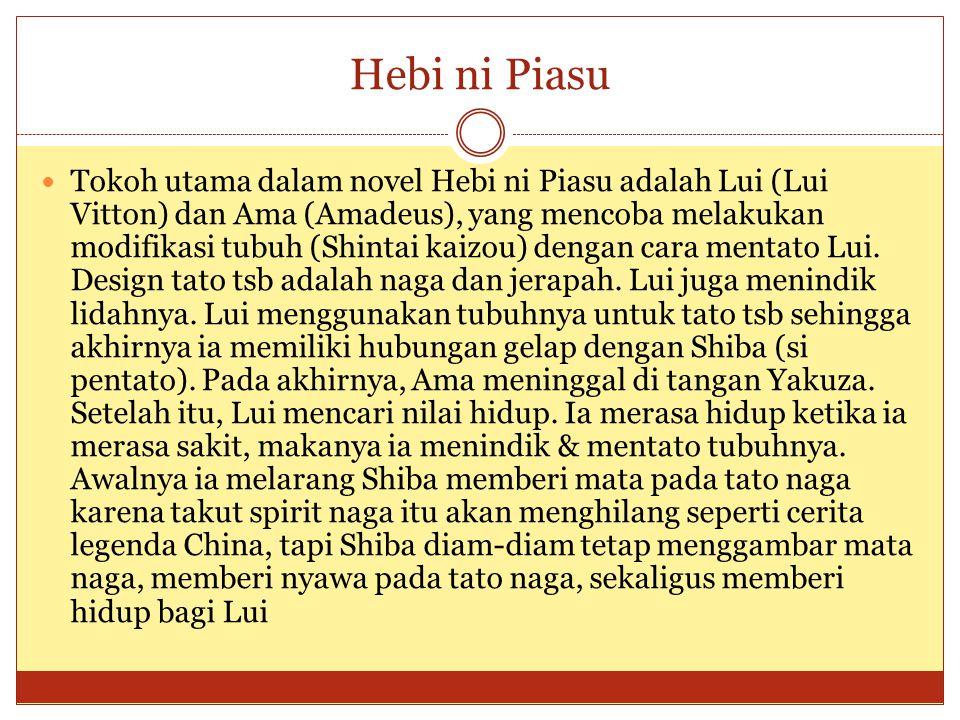 Hebi ni Piasu Tokoh utama dalam novel Hebi ni Piasu adalah Lui (Lui Vitton) dan Ama (Amadeus), yang mencoba melakukan modifikasi tubuh (Shintai kaizou