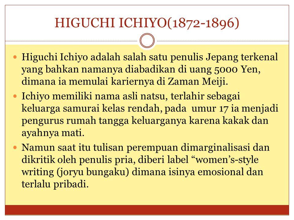 HIGUCHI ICHIYO(1872-1896) Higuchi Ichiyo adalah salah satu penulis Jepang terkenal yang bahkan namanya diabadikan di uang 5000 Yen, dimana ia memulai