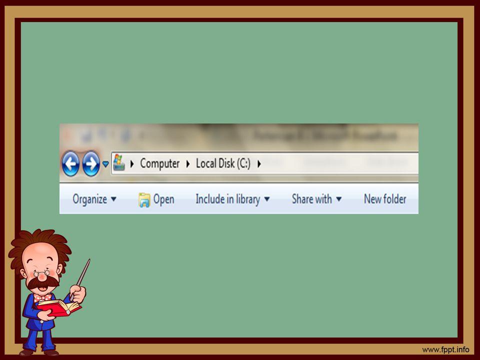 Mengubah Bentuk Tampilan Folder Keadaan default Windows Explorer akan menampilkan informasi singkat dari setiap folder atau posisi drive yang dipilih.