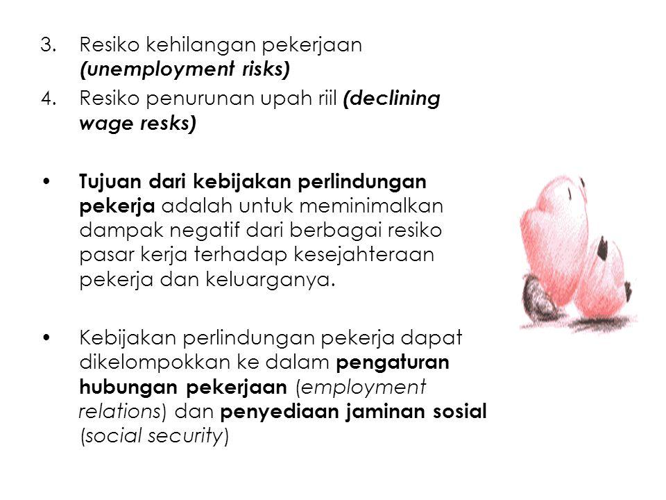 3.Resiko kehilangan pekerjaan (unemployment risks) 4.Resiko penurunan upah riil (declining wage resks) Tujuan dari kebijakan perlindungan pekerja adal