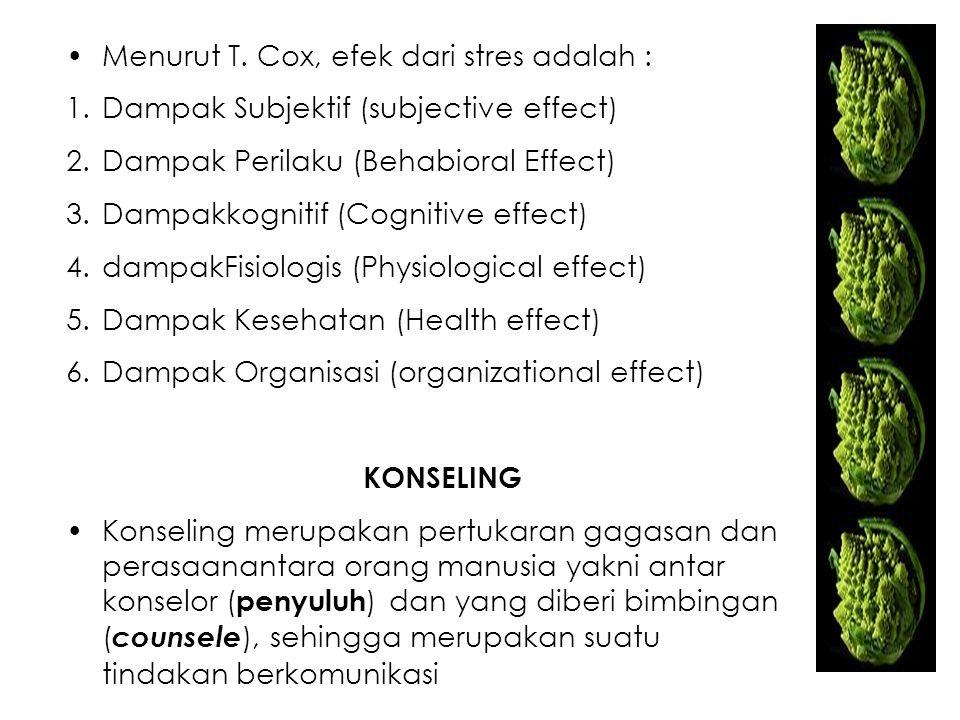 Menurut T. Cox, efek dari stres adalah : 1.Dampak Subjektif (subjective effect) 2.Dampak Perilaku (Behabioral Effect) 3.Dampakkognitif (Cognitive effe