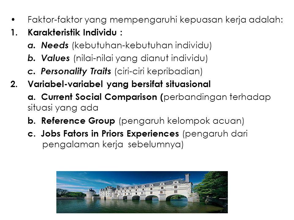 Faktor-faktor yang mempengaruhi kepuasan kerja adalah: 1.Karakteristik Individu : a. Needs (kebutuhan-kebutuhan individu) b. Values (nilai-nilai yang