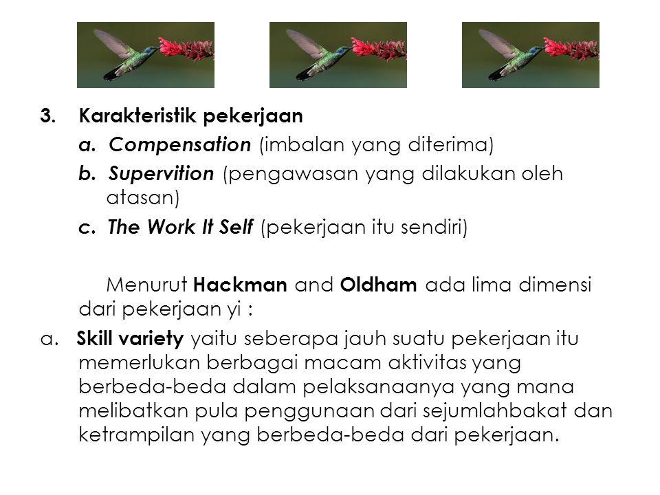 3.Karakteristik pekerjaan a. Compensation (imbalan yang diterima) b. Supervition (pengawasan yang dilakukan oleh atasan) c. The Work It Self (pekerjaa