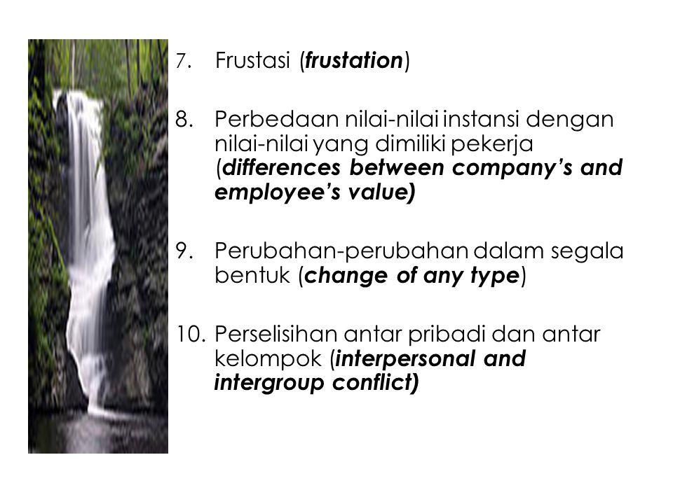 7. Frustasi ( frustation ) 8.Perbedaan nilai-nilai instansi dengan nilai-nilai yang dimiliki pekerja ( differences between company's and employee's va