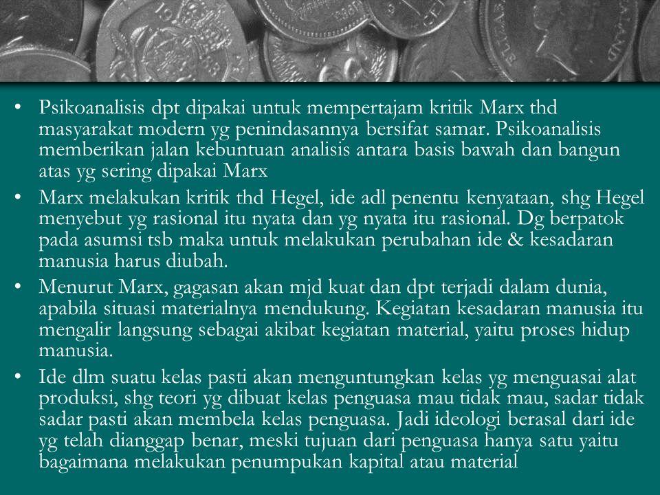 Psikoanalisis dpt dipakai untuk mempertajam kritik Marx thd masyarakat modern yg penindasannya bersifat samar.