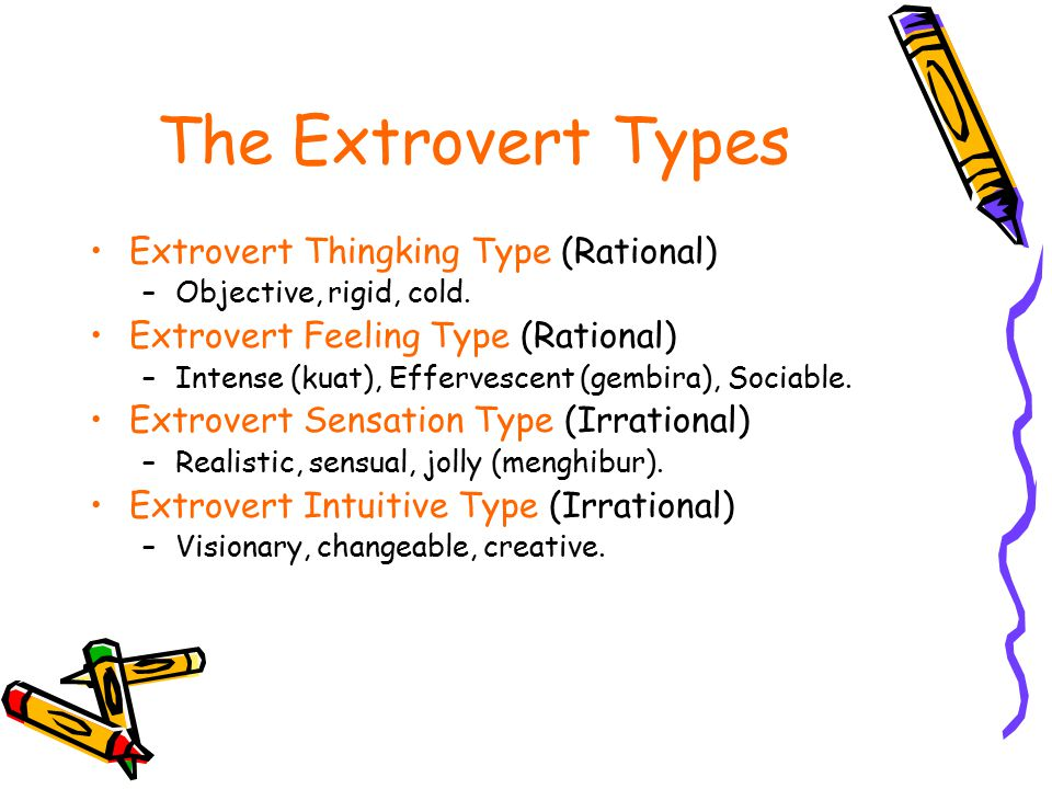 The Extrovert Types Extrovert Thingking Type (Rational) –Objective, rigid, cold. Extrovert Feeling Type (Rational) –Intense (kuat), Effervescent (gemb