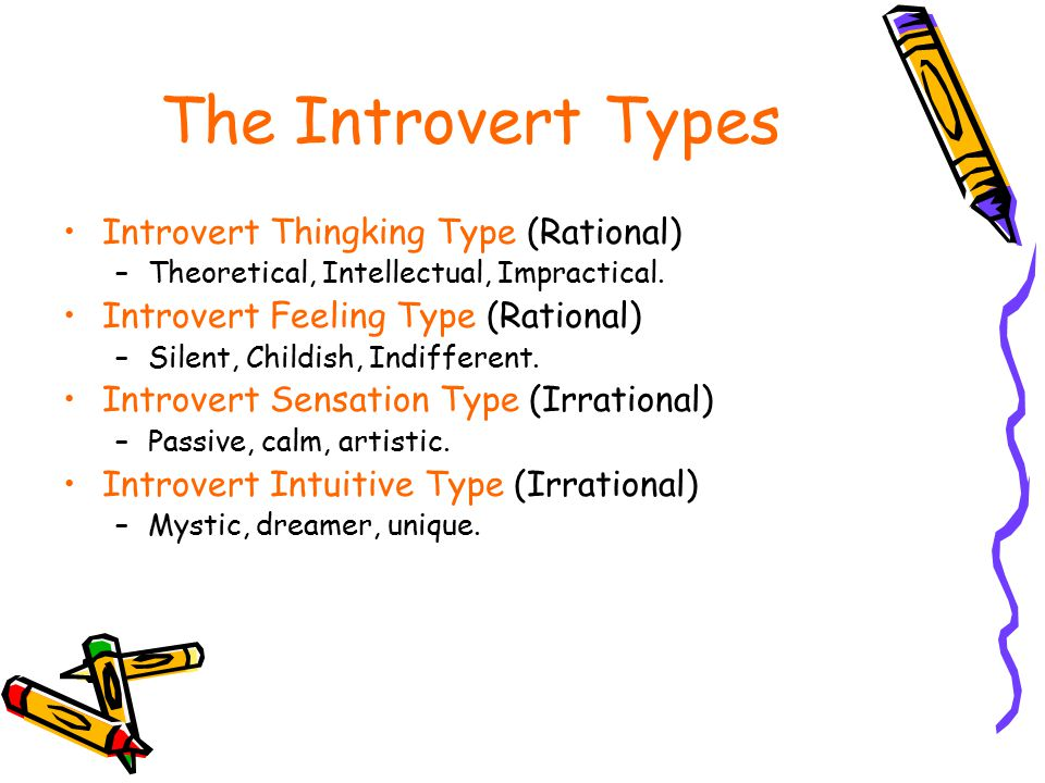 The Introvert Types Introvert Thingking Type (Rational) –Theoretical, Intellectual, Impractical. Introvert Feeling Type (Rational) –Silent, Childish,