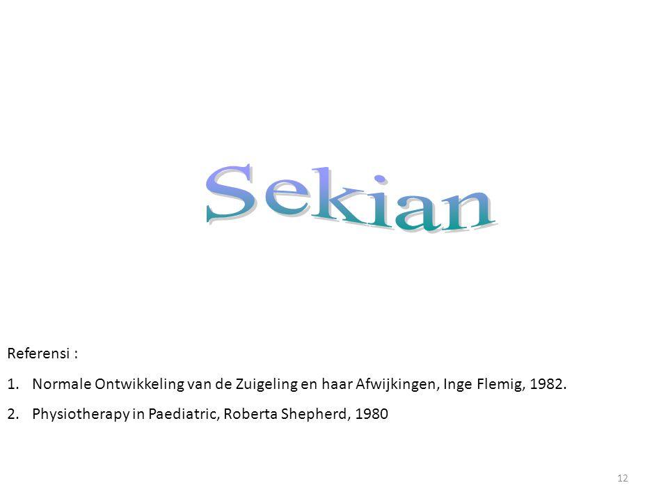 12 Referensi : 1.Normale Ontwikkeling van de Zuigeling en haar Afwijkingen, Inge Flemig, 1982.