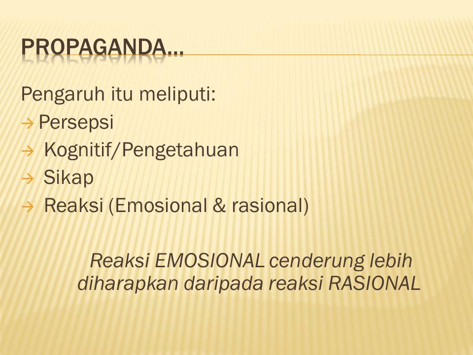 Pengaruh itu meliputi:  Persepsi  Kognitif/Pengetahuan  Sikap  Reaksi (Emosional & rasional) Reaksi EMOSIONAL cenderung lebih diharapkan daripada