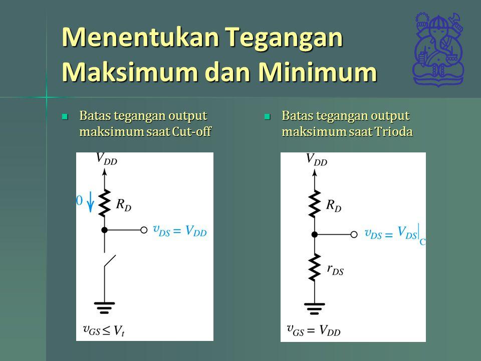 Menentukan Tegangan Maksimum dan Minimum Batas tegangan output maksimum saat Cut-off Batas tegangan output maksimum saat Cut-off Batas tegangan output maksimum saat Trioda Batas tegangan output maksimum saat Trioda