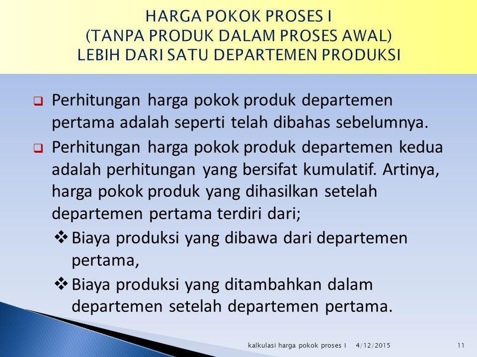  Perhitungan harga pokok produk departemen pertama adalah seperti telah dibahas sebelumnya.  Perhitungan harga pokok produk departemen kedua adalah