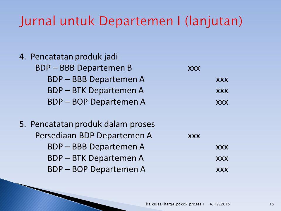 4. Pencatatan produk jadi BDP – BBB Departemen Bxxx BDP – BBB Departemen Axxx BDP – BTK Departemen A xxx BDP – BOP Departemen A xxx 5. Pencatatan prod