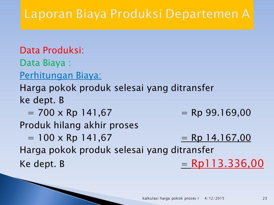 Data Produksi: Data Biaya : Perhitungan Biaya: Harga pokok produk selesai yang ditransfer ke dept. B = 700 x Rp 141,67= Rp 99.169,00 Produk hilang akh