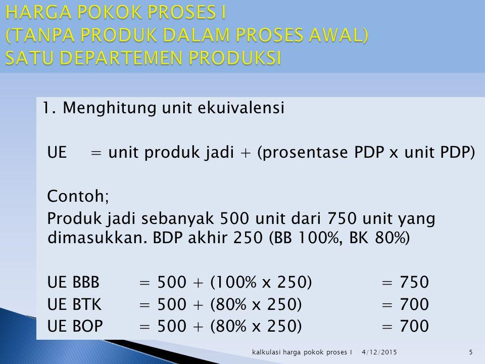 1.Menghitung unit ekuivalensi UE= unit produk jadi + (prosentase PDP x unit PDP) Contoh; Produk jadi sebanyak 500 unit dari 750 unit yang dimasukkan.