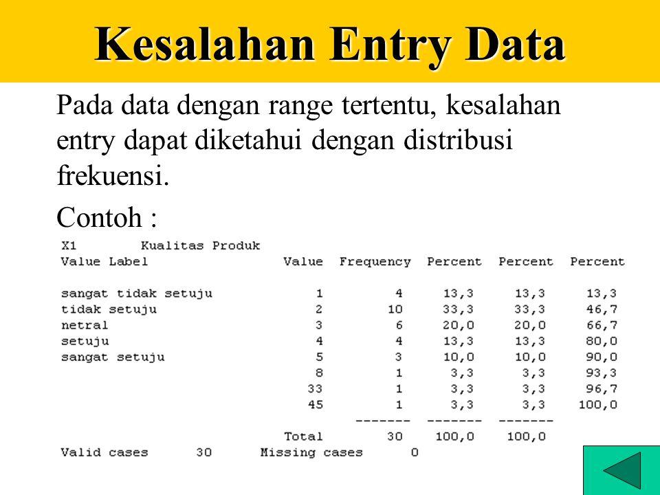 Pengaturan missing value No missing values Discrete missing values Range of missing values Range plus one discrete missing values SPSS Display