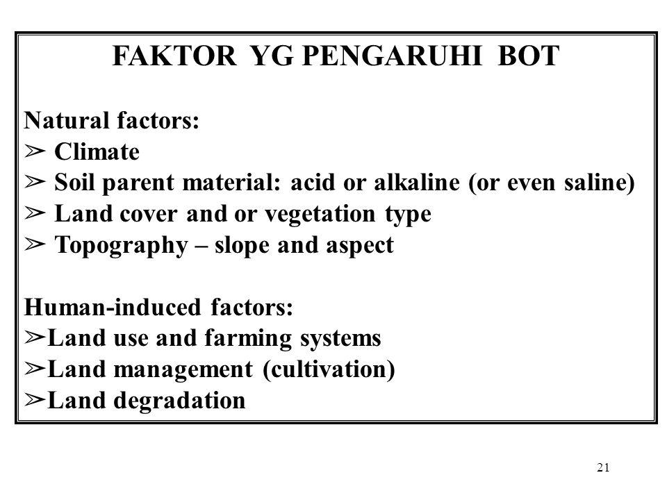 21 FAKTOR YG PENGARUHI BOT Natural factors: ➢ Climate ➢ Soil parent material: acid or alkaline (or even saline) ➢ Land cover and or vegetation type ➢