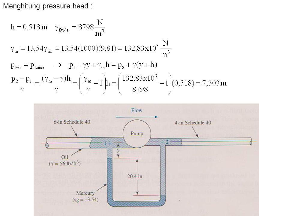 Menghitung pressure head :