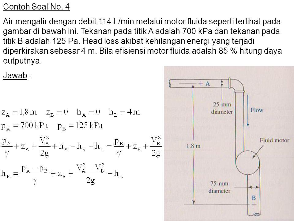 Contoh Soal No. 4 Air mengalir dengan debit 114 L/min melalui motor fluida seperti terlihat pada gambar di bawah ini. Tekanan pada titik A adalah 700