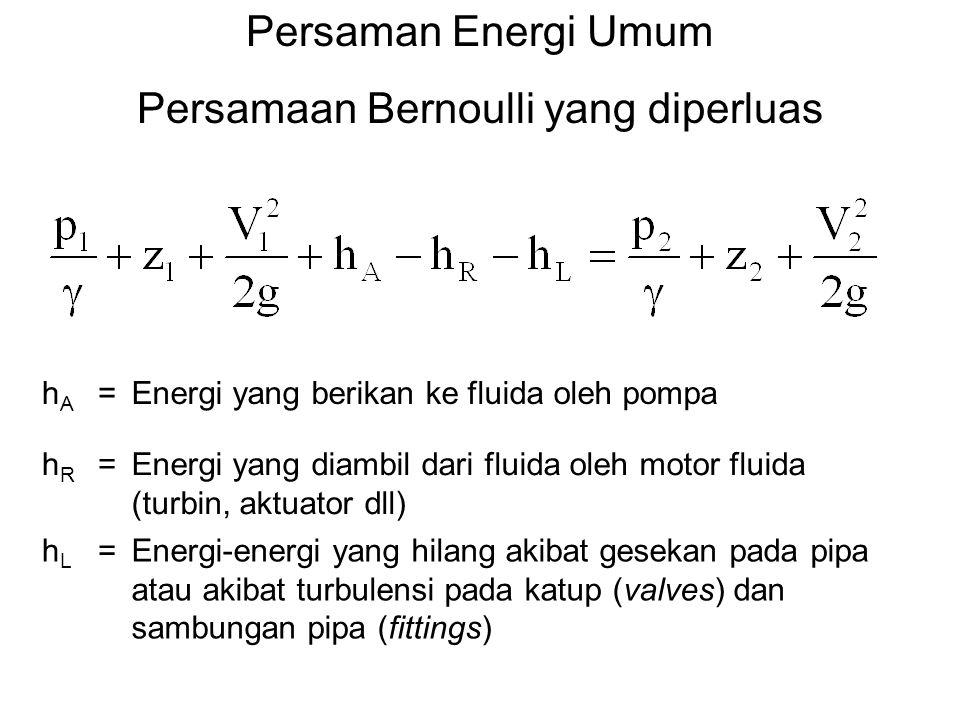 Persaman Energi Umum Persamaan Bernoulli yang diperluas hAhA =Energi yang berikan ke fluida oleh pompa hRhR =Energi yang diambil dari fluida oleh moto