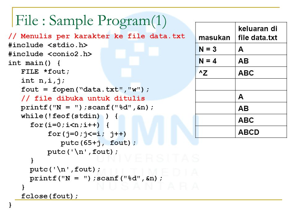 File : Sample Program(1) // Menulis per karakter ke file data.txt #include int main() { FILE *fout; int n,i,j; fout = fopen( data.txt , w ); // file dibuka untuk ditulis printf( N = );scanf( %d ,&n); while(!feof(stdin) ) { for(i=0;i<n;i++) { for(j=0;j<=i; j++) putc(65+j, fout); putc( \n ,fout); } putc( \n ,fout); printf( N = );scanf( %d ,&n); } fclose(fout); } masukan keluaran di file data.txt N = 3A N = 4AB ^ZABC A AB ABC ABCD